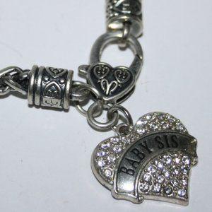 Silver rhinestone Baby Sis heart charm bracelet